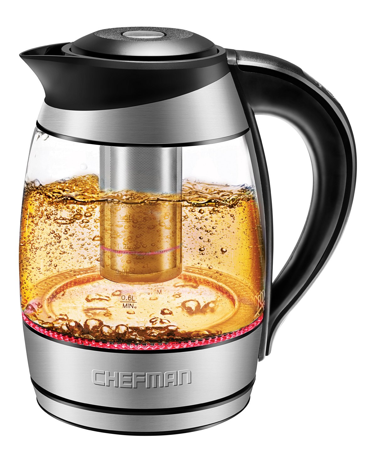 Chefman Electric Glass Kettle w/Temperature Control and Indicator, 5 Presets, Colored LED Lights, 360° Swivel Base, BPA, Free Removable Tea Infuser, 1500W and 120V, 1.8 Liters, Stainless Steel
