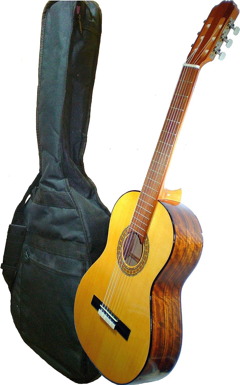 MARCE ANA - Guitarra Clasica española de estudio + Funda (caja armónica de madera de Etimoe, dos perfiles en negro, diapasón de cedro natural. Tamaño adulto)