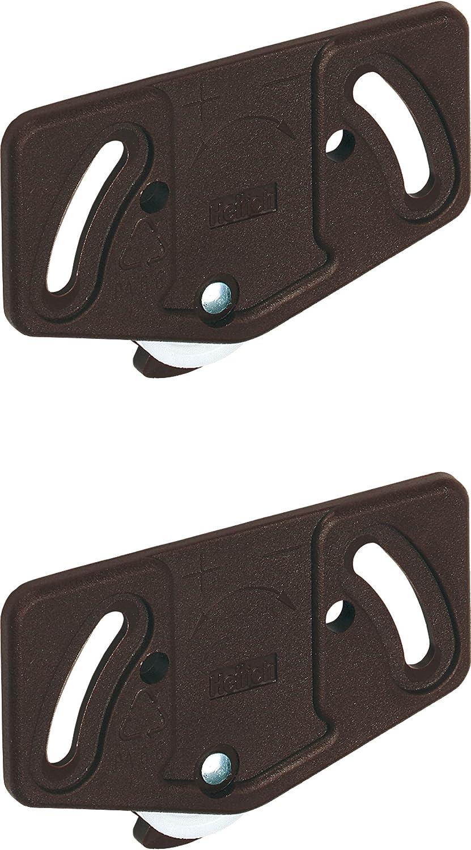 Lot de 2 roulettes GedoTec® pour une porte de meuble coulissante de moins de 15 kg - Modèle Slide Line 55 - En plastique - Coloris: marron