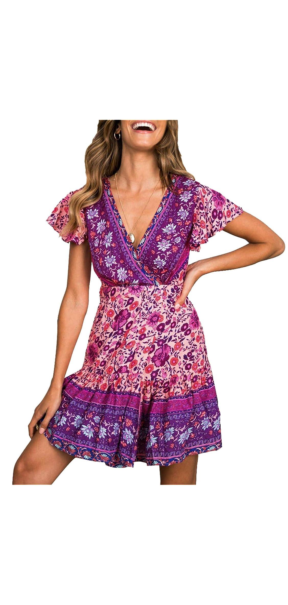Womens Summer Wrap V Neck Bohemian Floral Print Ruffle A