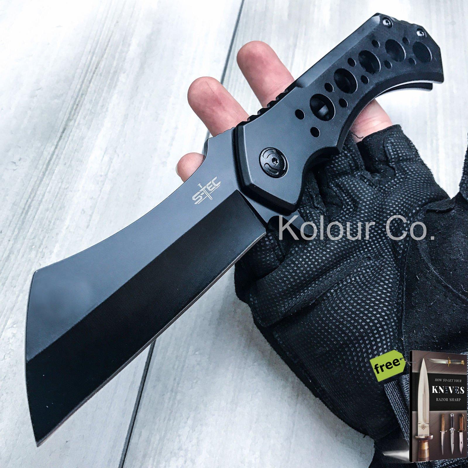 10'' HUGE CLEAVER BALL BEARING Assisted Open Pocket Folding Carbon Steel Razor Sharp Knife RAZOR Blade + eBook by SURVIVAL STEEL