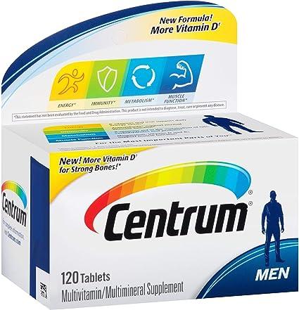 Información nutricional para hombres centrum ultra