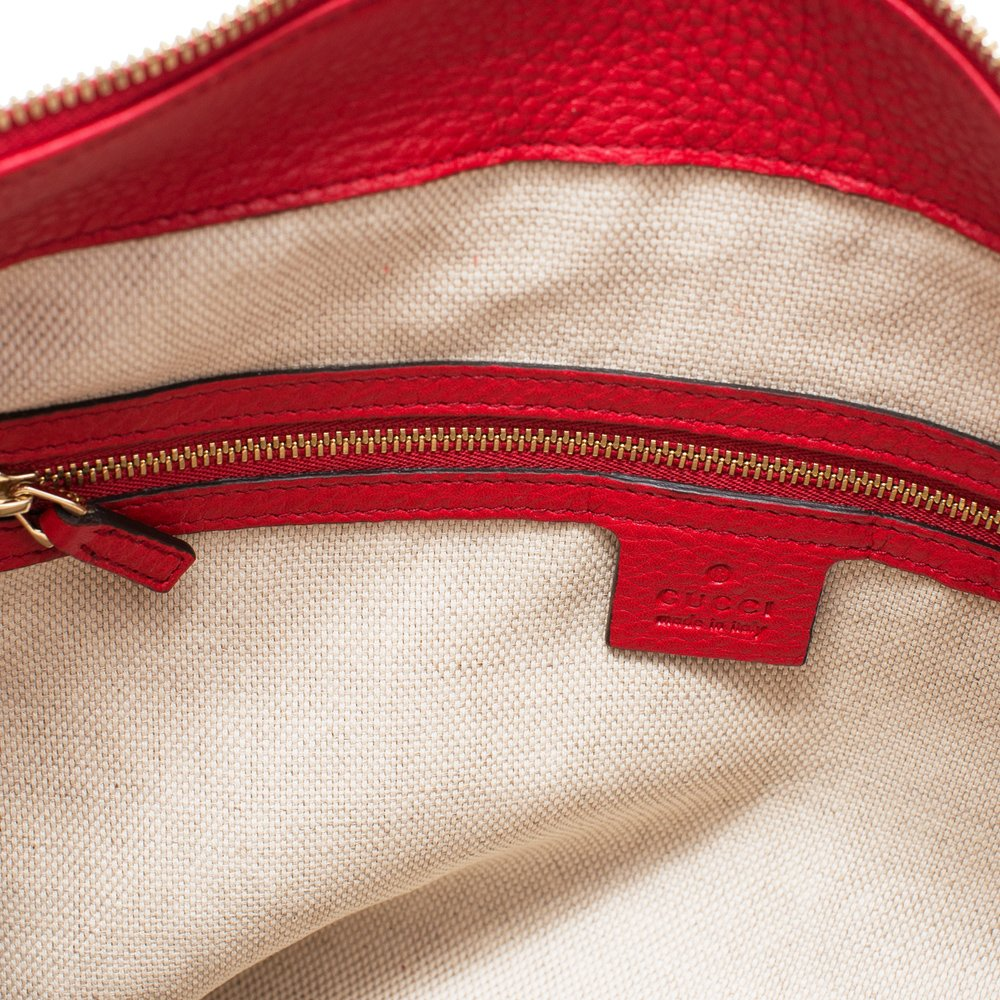 Gucci Soho Flame Red Leather Bag Soft Hobo Italy Handbag New by Gucci (Image #5)