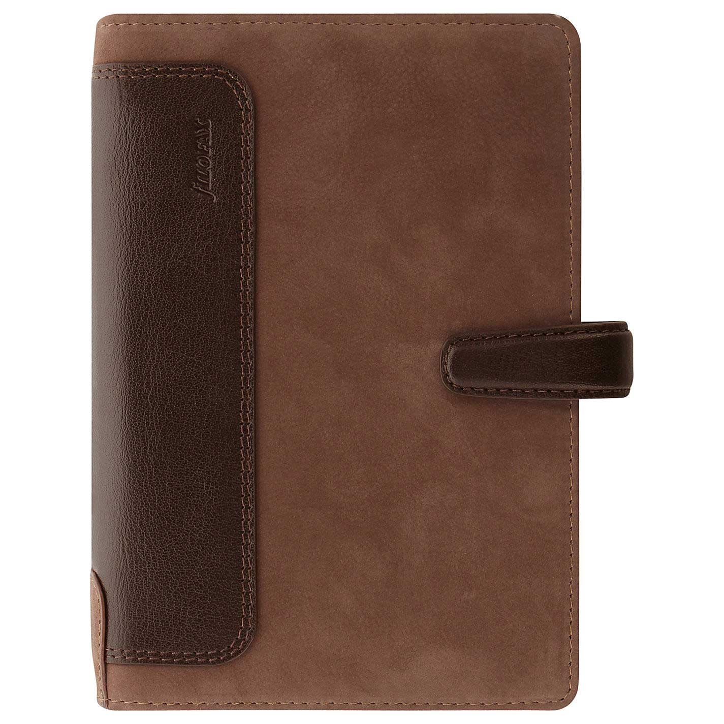 Filofax Holborn Leather Organizer Agenda Calendar Personal Size in Nubuck Brown with DiLoro Jot Pad Refills (Personal, Nubuck Brown 2017, 026040)