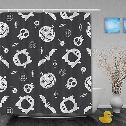 Amazon Halloween Home Decor Shower Curtain Pumpkins Skull Ghost