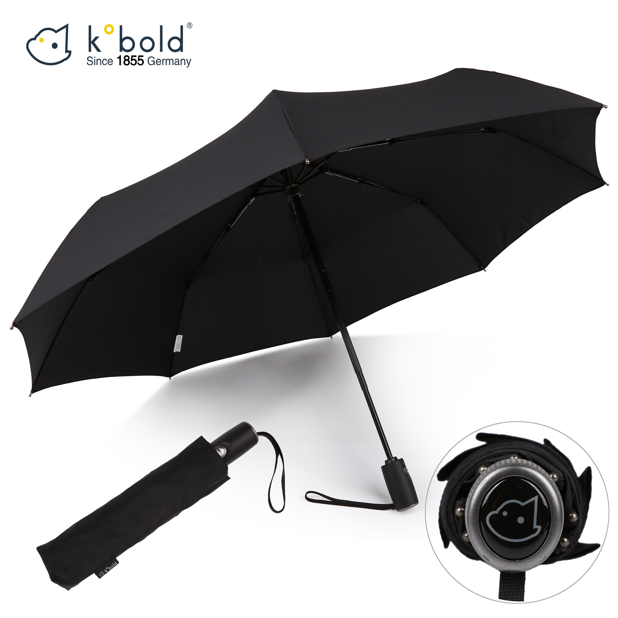 Kobold Business Travel Umbrella Automatic Windproof Foldable Auto Open Close Strong Lightweight Umbrellas for Men Black Teflon Coating Umbrellas