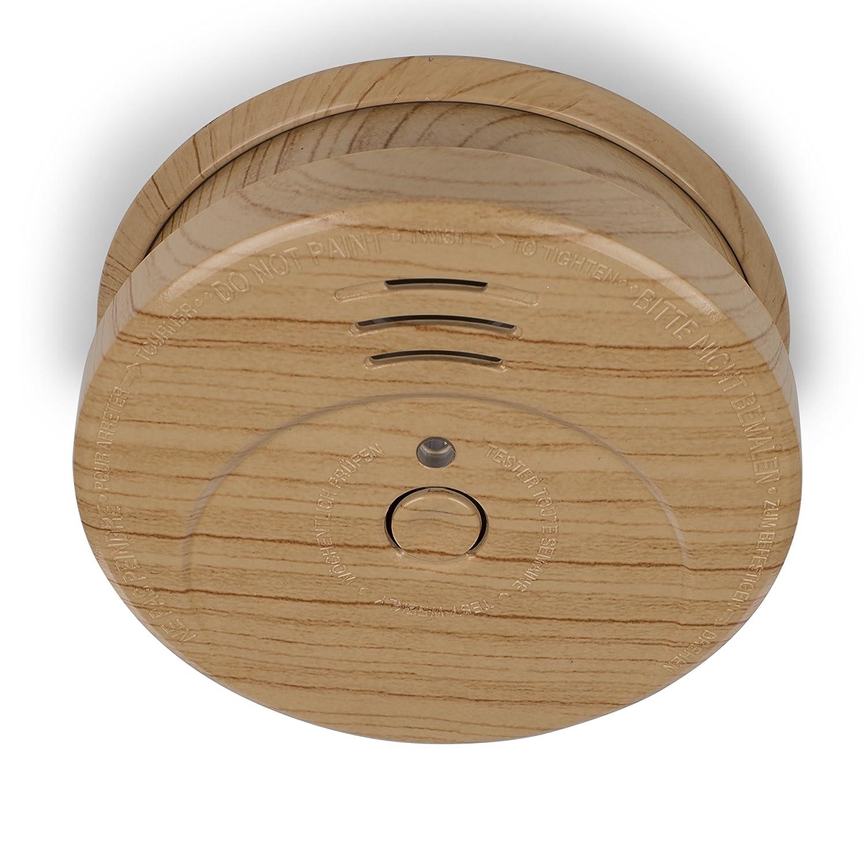 Smartwares 10.024.66 Detector de Humo Con decoración elegante Exterior con aspecto de madera – Batería incluida – Botón de prueba – 85 dB.