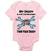 My Daddy Is a Better Mechanic Than Your Daddy Baby Bodysuit Cute Baby Clothes (6-12 Months, Pink)