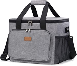 Lifewit Collapsible Cooler Bag Insulated 24L (40-Can), Large Leakproof Soft Sided Portable Cooler Bag for Outdoor Travel Beach Picnic Camping BBQ Party, Grey