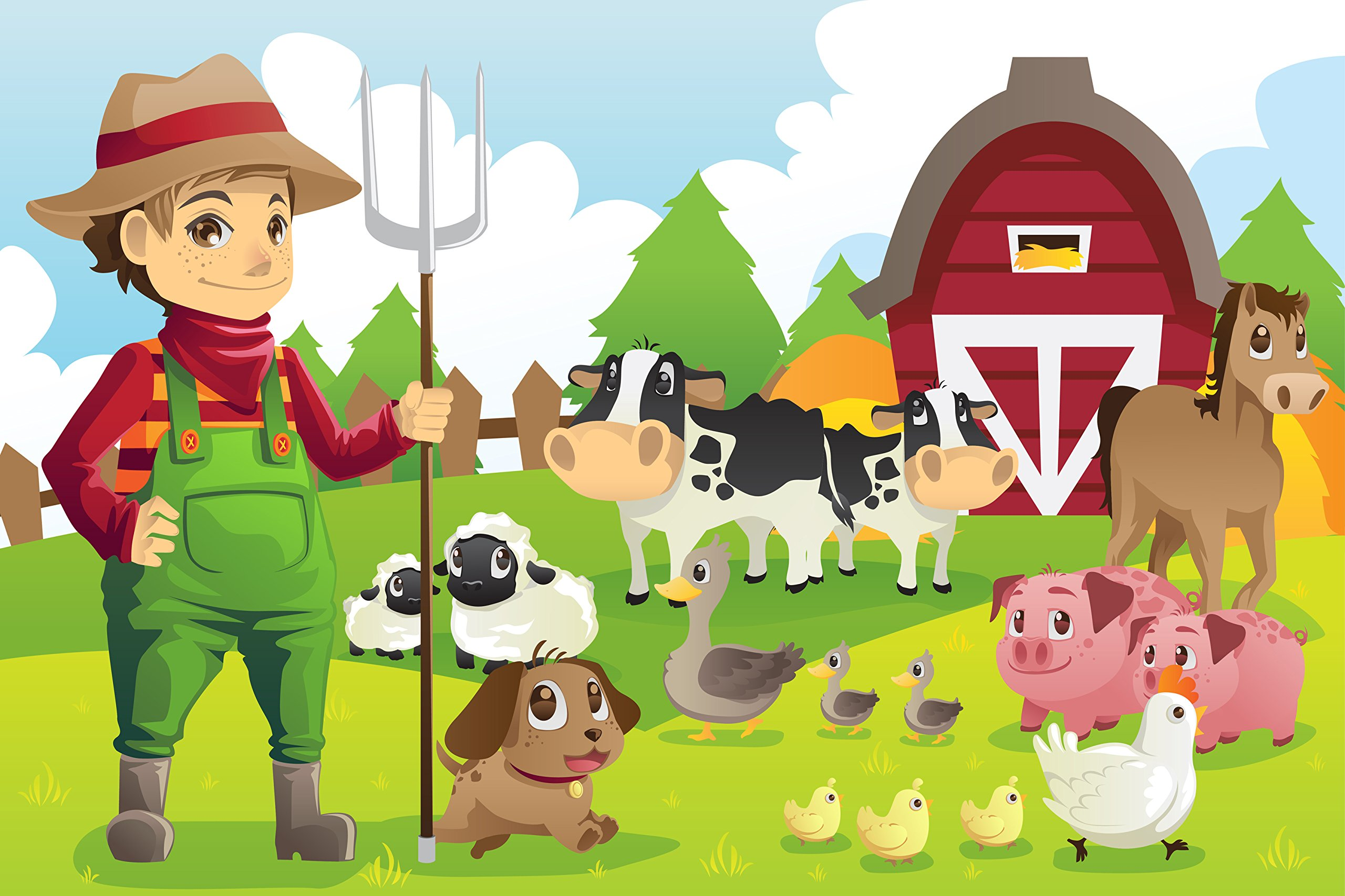 Child Farmer with Farm Animals Edible Icing Image for 1/4 sheet cake by Whimsical Practicality