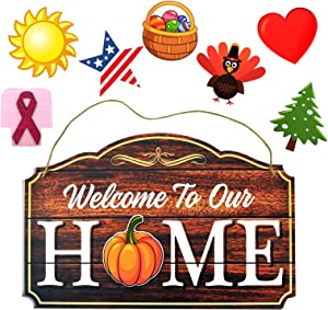 Interchangeable Welcome Sign for Front Sign Door Hanger Wall Decor Spring Decor Welcome Sign with Holiday Pieces for Front Door Handcrafted Wooden Sign Plaque Door Wall Hanging Decorations