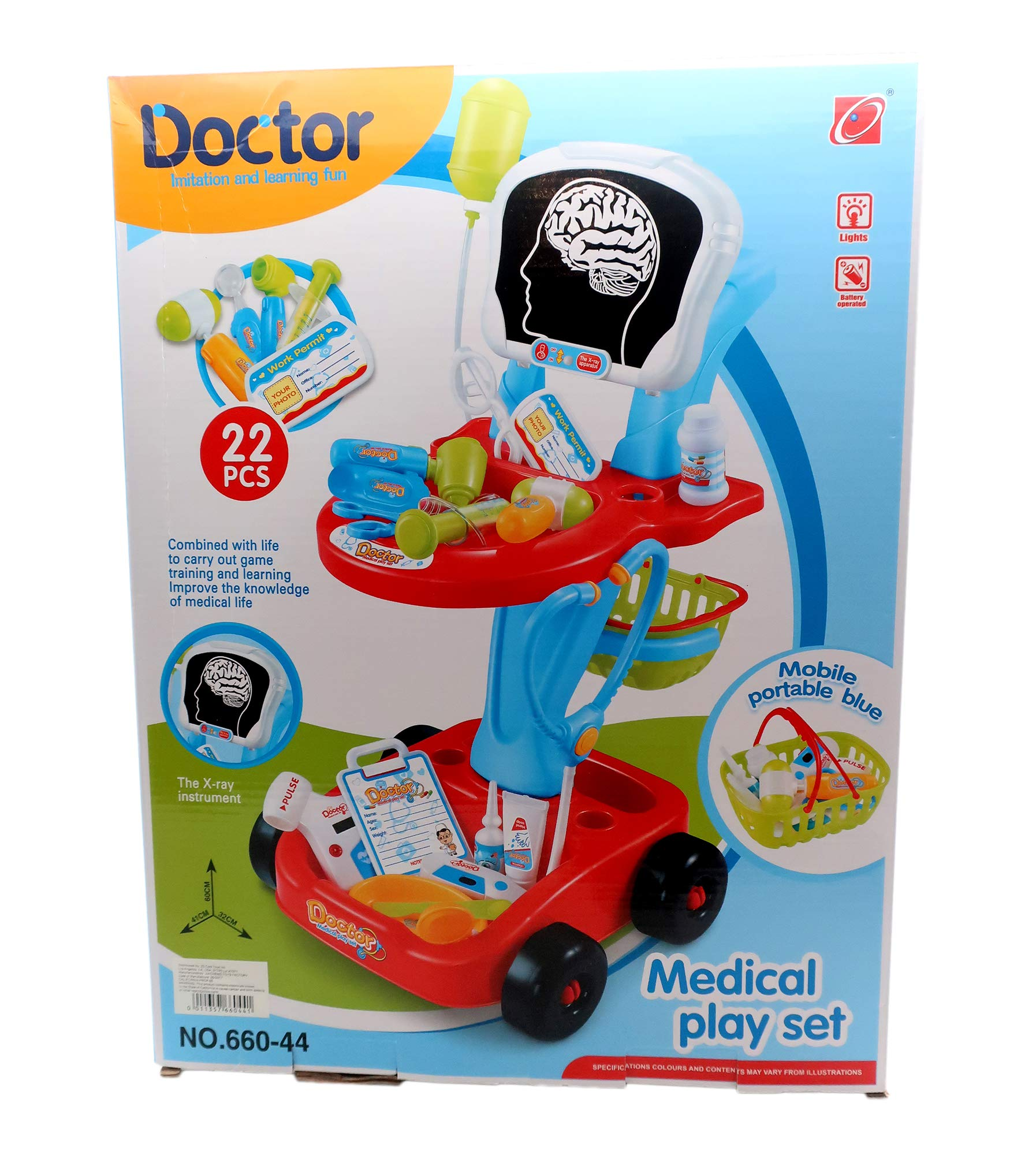 Pretend Role Play Doctor Medical Set includes X-Ray Cart /Trolley! 22 pieces Medical Accessories w/ some lighted medical instruments. Perfect Gift for the Budding Young Dr. or Nurse! (Red / Blue)