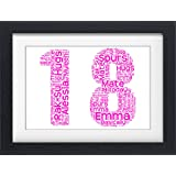Personalised 18th Birthday Gift Present Word Art Print (NO FRAME)