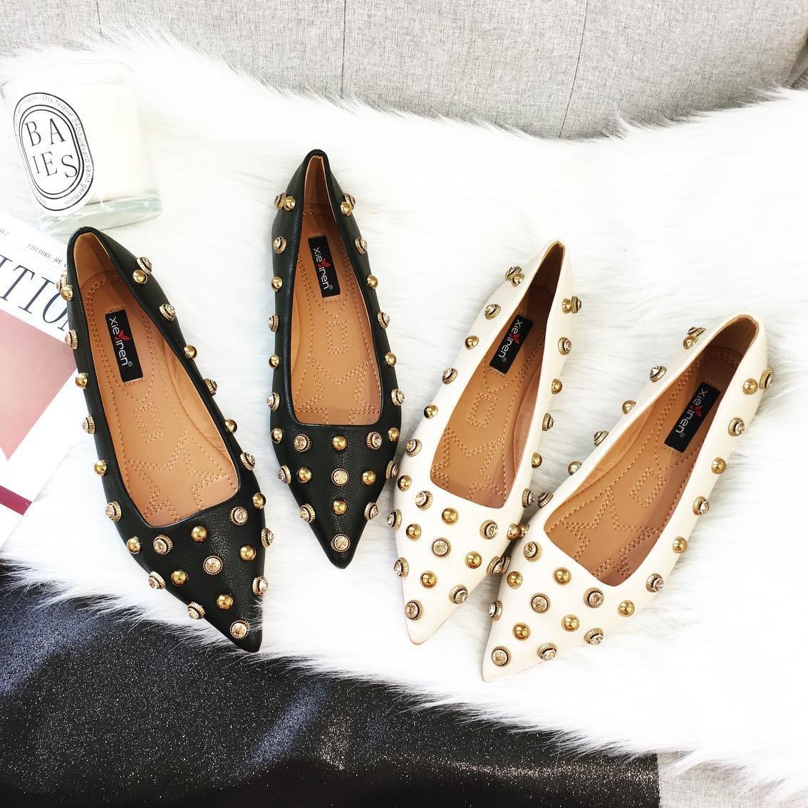 ZHZNVX Frauen Spitze flache Schuhe Frauen ZHZNVX neue koreanische wilde Perle nieten flachen Mund weichen Boden beiläufige Schuhe Damen Schuhe 51456e