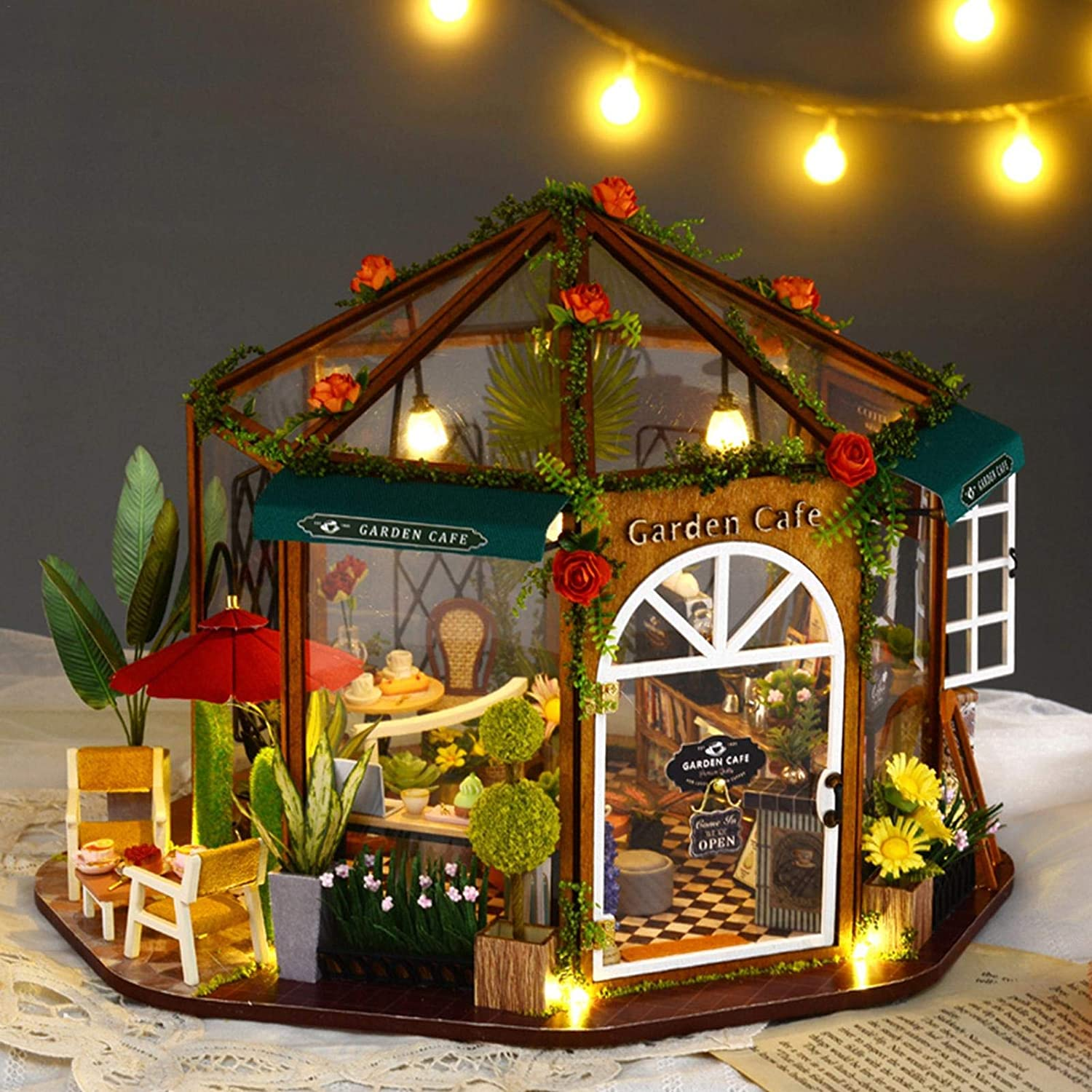 N\C Dollhouse Miniature with Furniture, Garden Cafe 3D DIY House Kit Puzzle Toys, 1:24 Scale Creative Room Christmas Birthday Gift for Kids & Dollhouse Lovers