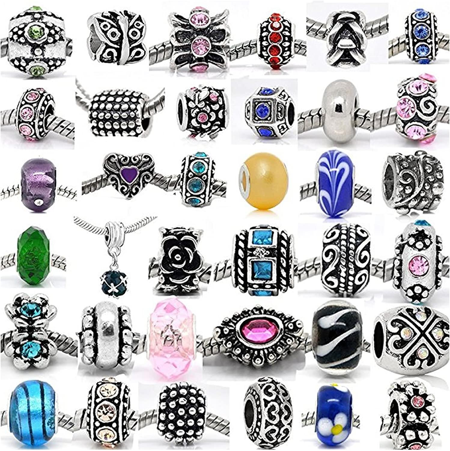 (20 Beads Mix) Pack von Assorted Silver Tone Charms, Rhinestones Bead Charms, Murano Glass Beads und Spacers