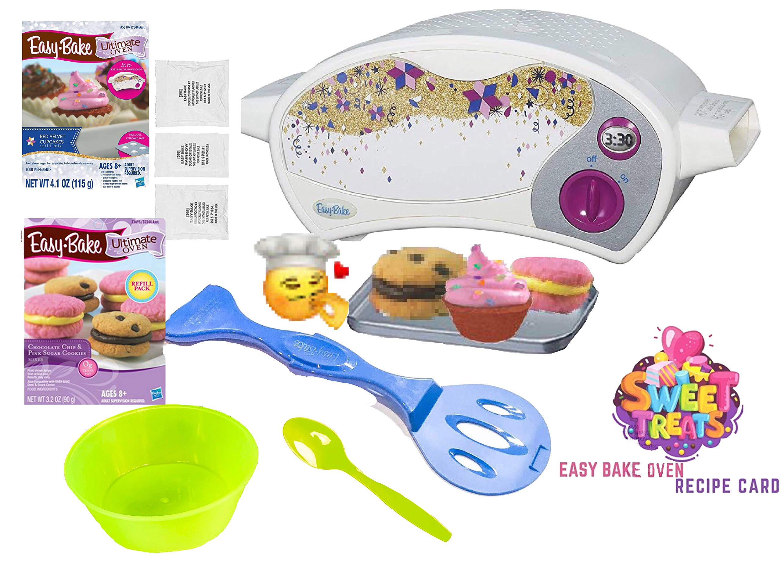 Party Lab 365 Easy Bake Ultimate Oven Baking Star Edition + 2 Oven Refill Mixes + 2 Sweet Treats Tasty Oven Recipes + Mixing Bowl and Spoon (5 Total Items) (Yellow) by Party Lab 365