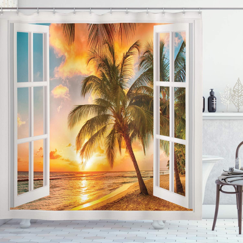 Beach Shower Curtain Sea Ocean Palms Scenery Print for Bathroom