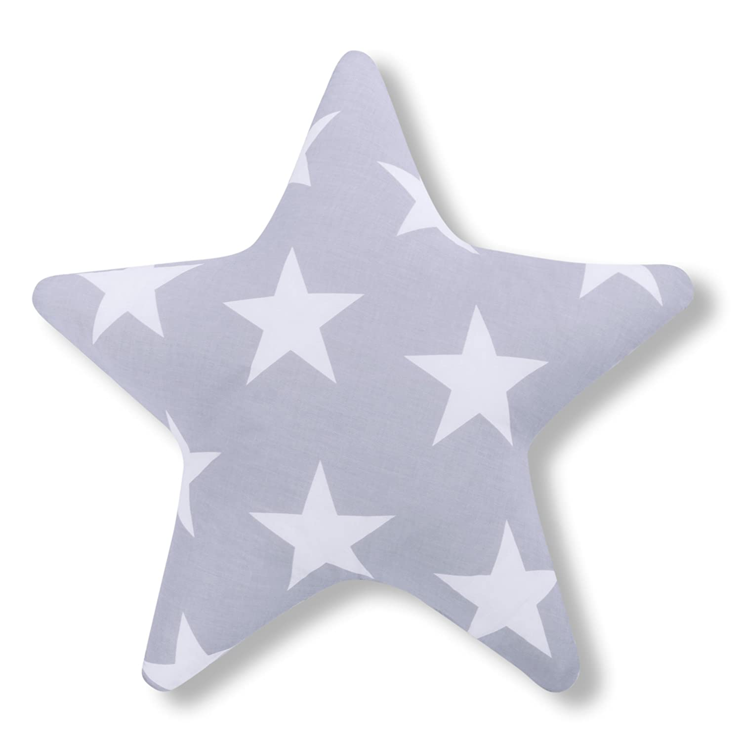 Amilian® Star Shaped Pillow Cushion Two Sided Fleece/100% Cotton Cosy Fluffy, Star Print Grey Approx 60 cm