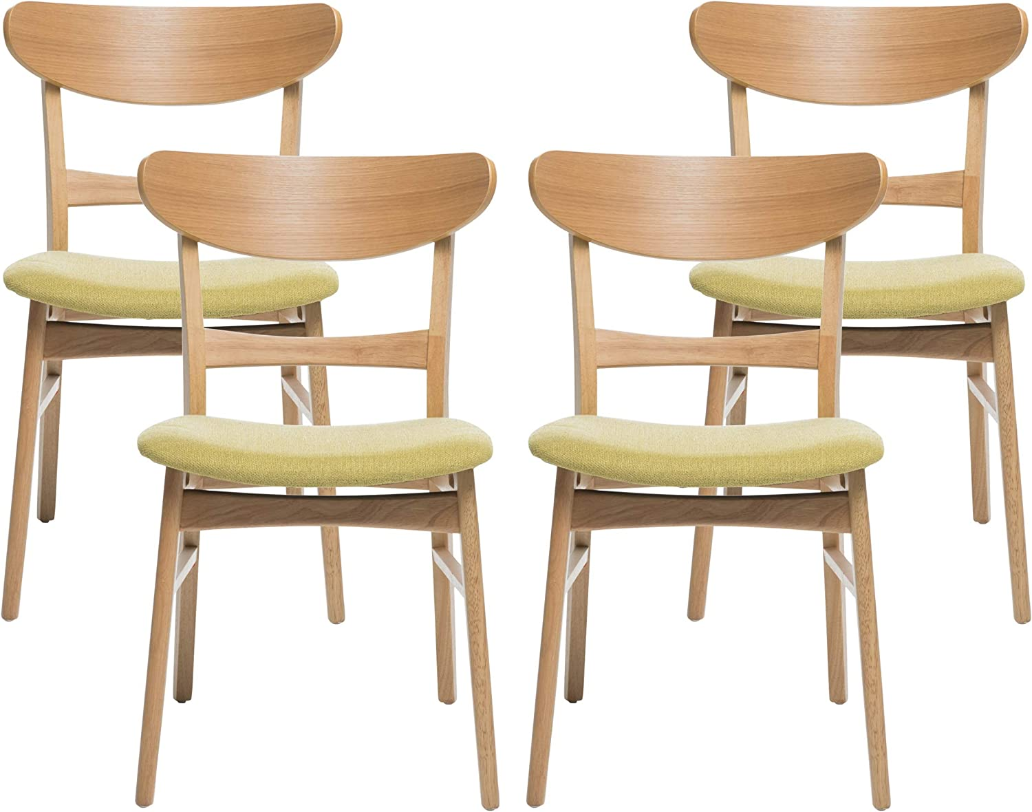 Christopher Knight Home Gloria Mid-Century Modern Dining Chairs (Set of 4), Green Tea, Natural Oak