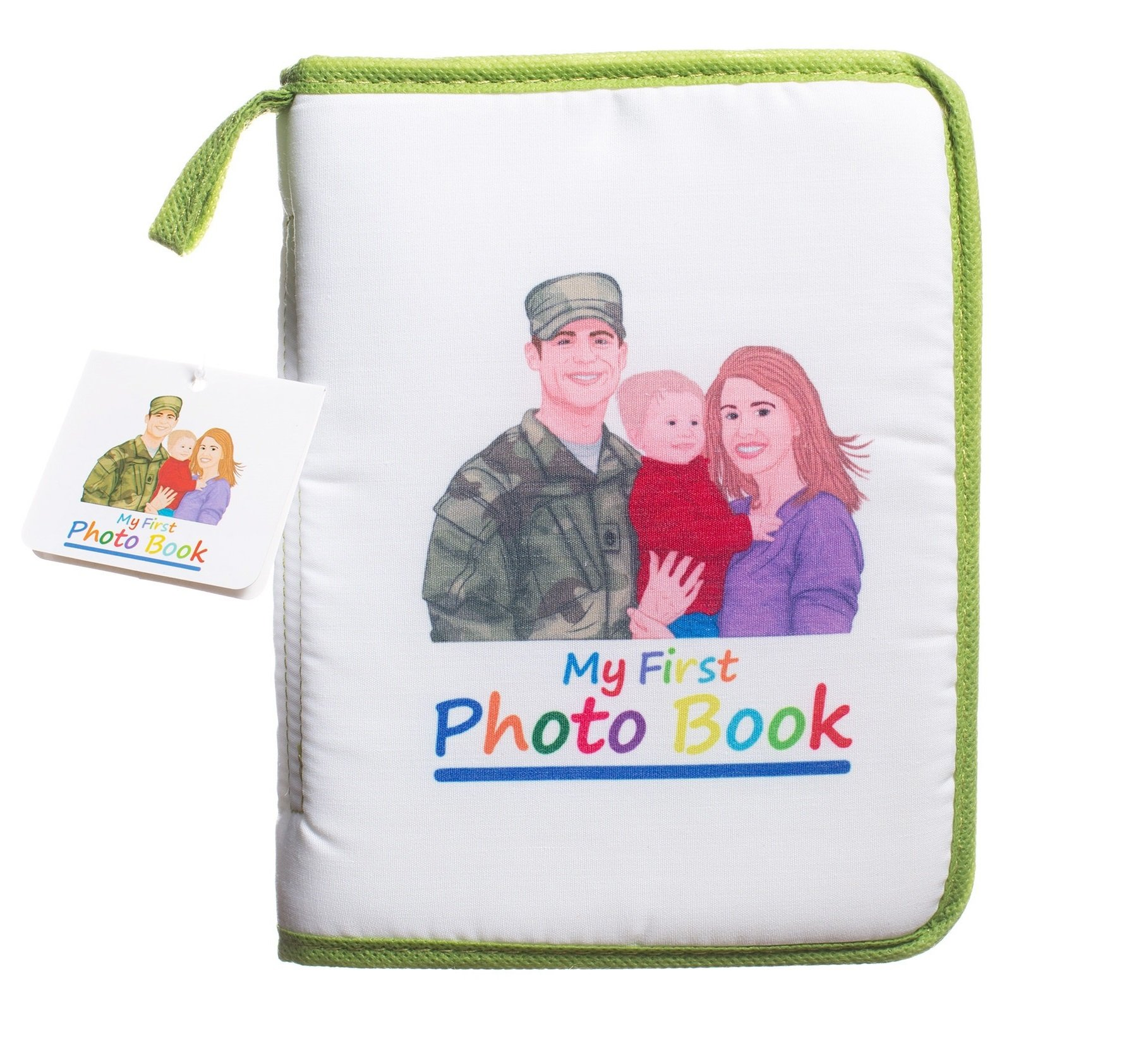 Baby Family Photo Album 4x6 (Military Edition) Portable Travel Scrapbook for Pictures, Photographs | Protective Plastic Covering | Lightweight, Compact