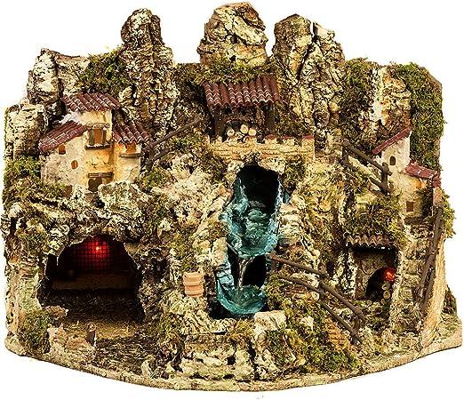 Holyart Grotta presepe con Cascata, Fuoco, Case, luci: Amazon.it