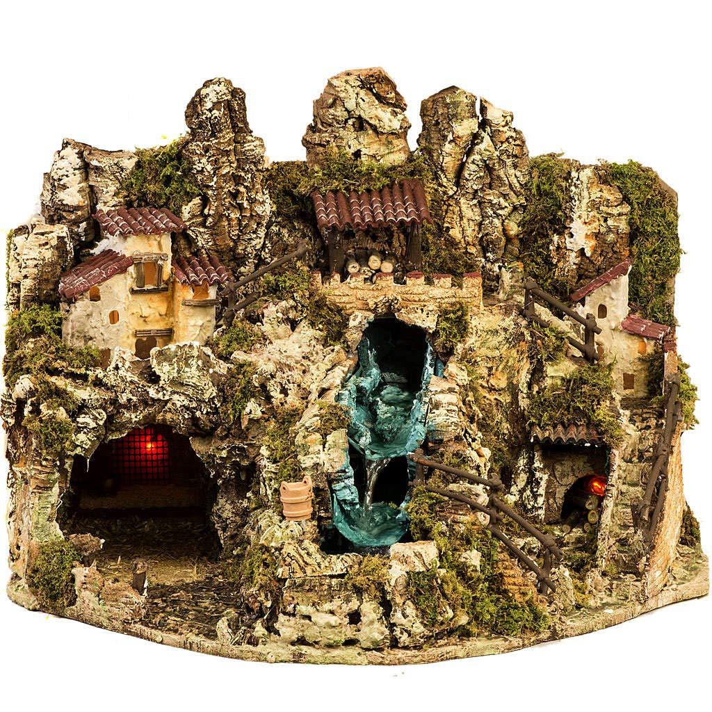 Fuoco Holyart Grotta presepe con Cascata luci Case