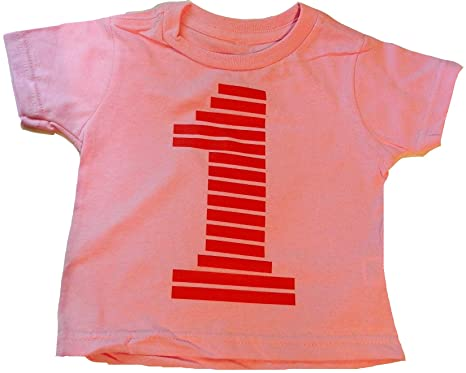 "0fa95dff Custom Kingdom Baby Girls 1"" Number One Striped First Birthday T-Shirt  (12"