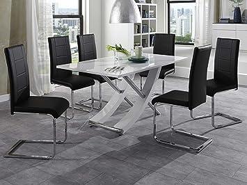 Modern Diner Sitzgruppen : Essgruppe lara esstisch hochglanz weiß 6 freischwinger schwarz