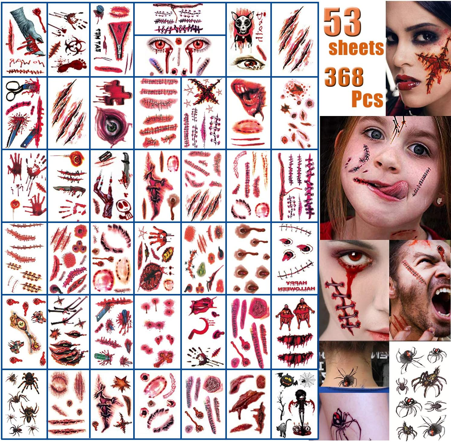 Halloween Face Fake Scar Tattoos, 53 Sheets Zombie Makeup Kit Decoration, Realistic Bloody Makeup Face Decorations Fake Injury Wound Tattoo for Halloween Costume for Party Supplies Cosplay Props