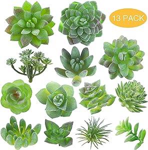 Fake Succulent, Artificial Succulents, Faux Succulents, Artificial Succulents Plants, Fake Succulent Unpotted, Bulk Artificial Succulents for Birthday Home Decor Indoor Wall Garden DIY, Pack of 13Pcs