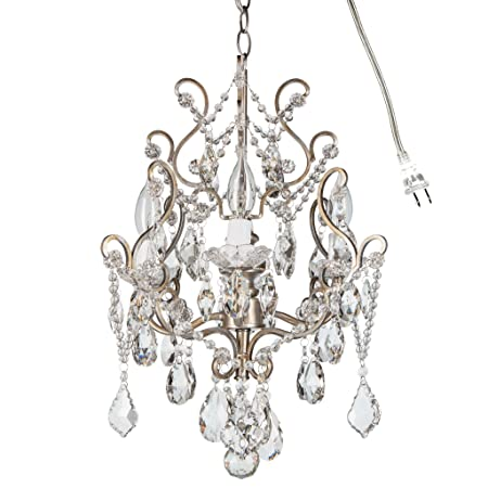 Theresa Vintage Silver Crystal Chandelier, Mini Plug-In Swag Glass Pendant 4 Light Wrought Iron Ceiling Lighting Fixture Lamp