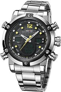 Reloj de alarma digital WEIDE, de acero inoxidable con esfera analógica, cronógrafo, impermeable