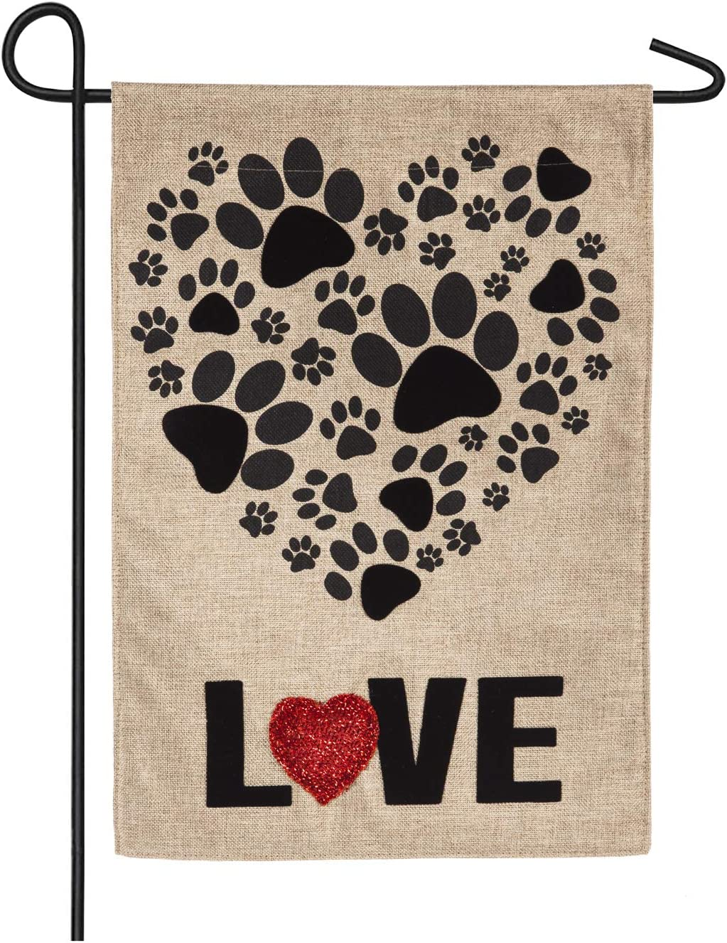 Paw Prints Heart Garden Burlap Flag - 13 x 1 x 18 Inches