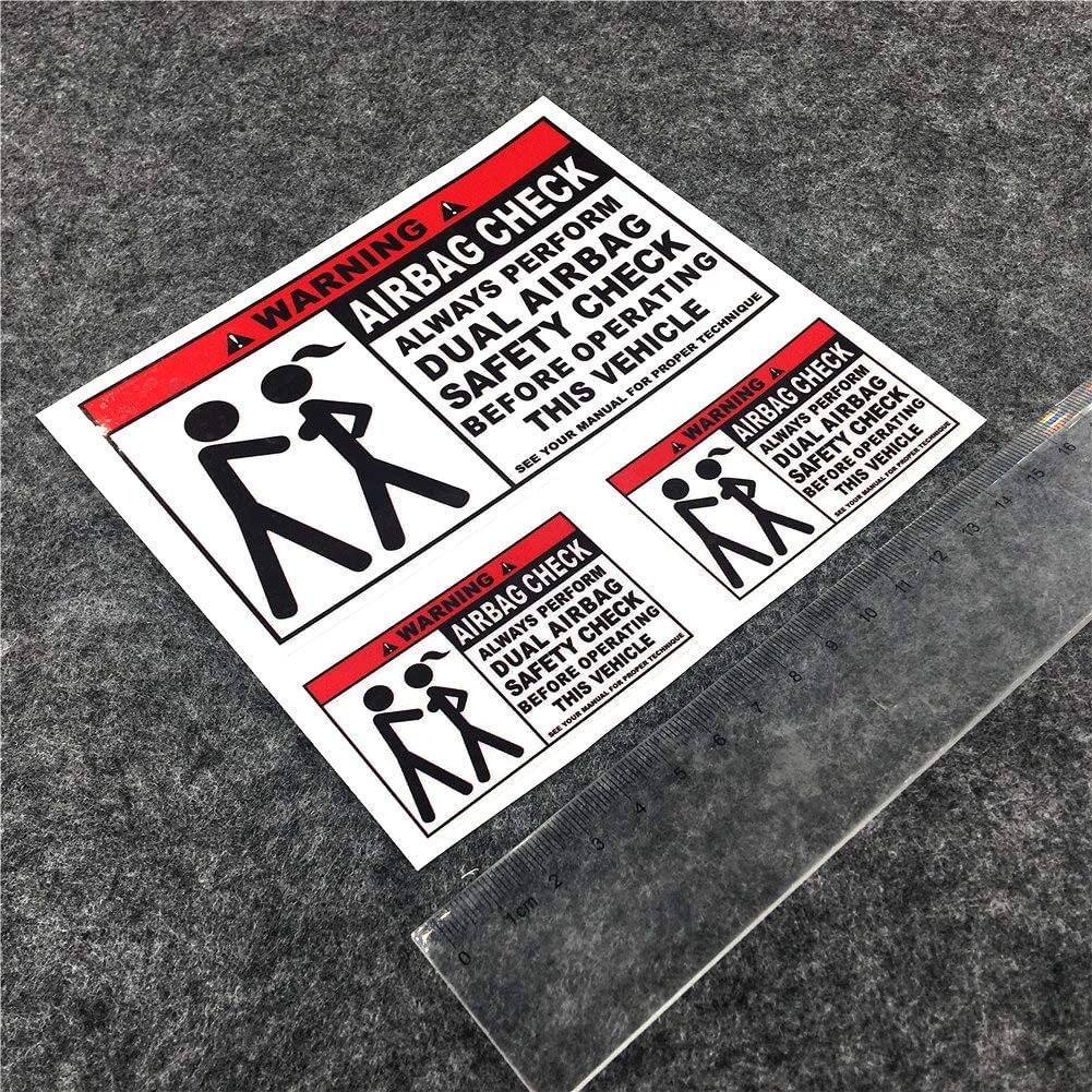 Horayten Car Styling Vinyl Decal Warning Dual AIRBAG Safety Check Vehicle Sticker