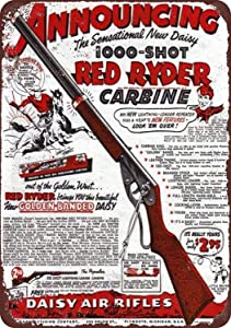 SmartCows Retro Tin Metal Sign 8 x 12 Inches - Daisy Red Ryder BB Gun - Vintage Look Wall Decor