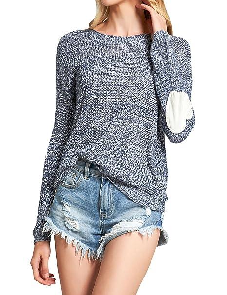 ZXZY Women Heart Pattern Patchwork Long Sleeve Round Neck Knits Sweater  Pullover (S, Dark