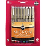 Sakura Pigma 30068 Micron Blister Card Ink Pen Set, Ass't Colors, 01 8CT Set