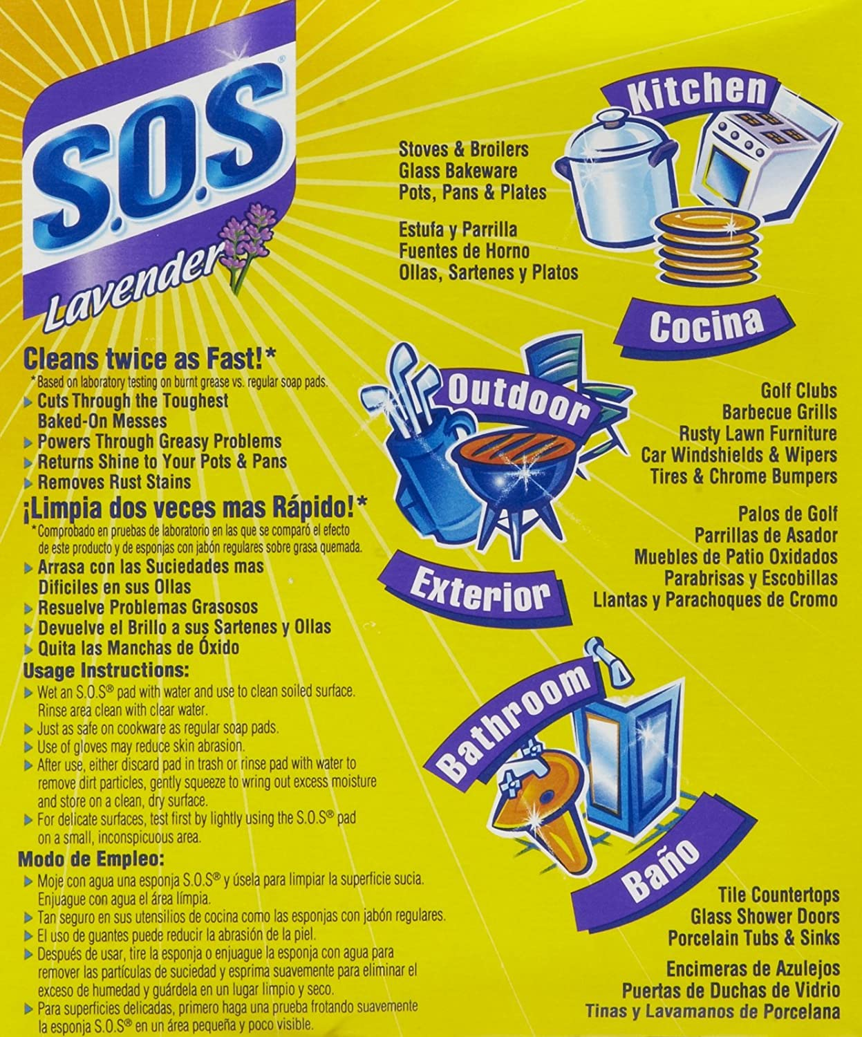 Amazon.com: S.O.S Steel Wool Soap Pads, Lavender - 10 ct - 3 pk: Health & Personal Care
