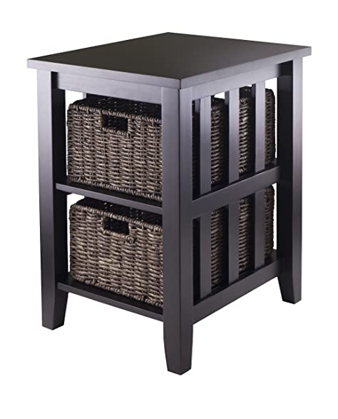 Winsome Morris Side Table With 2 Foldable Basket
