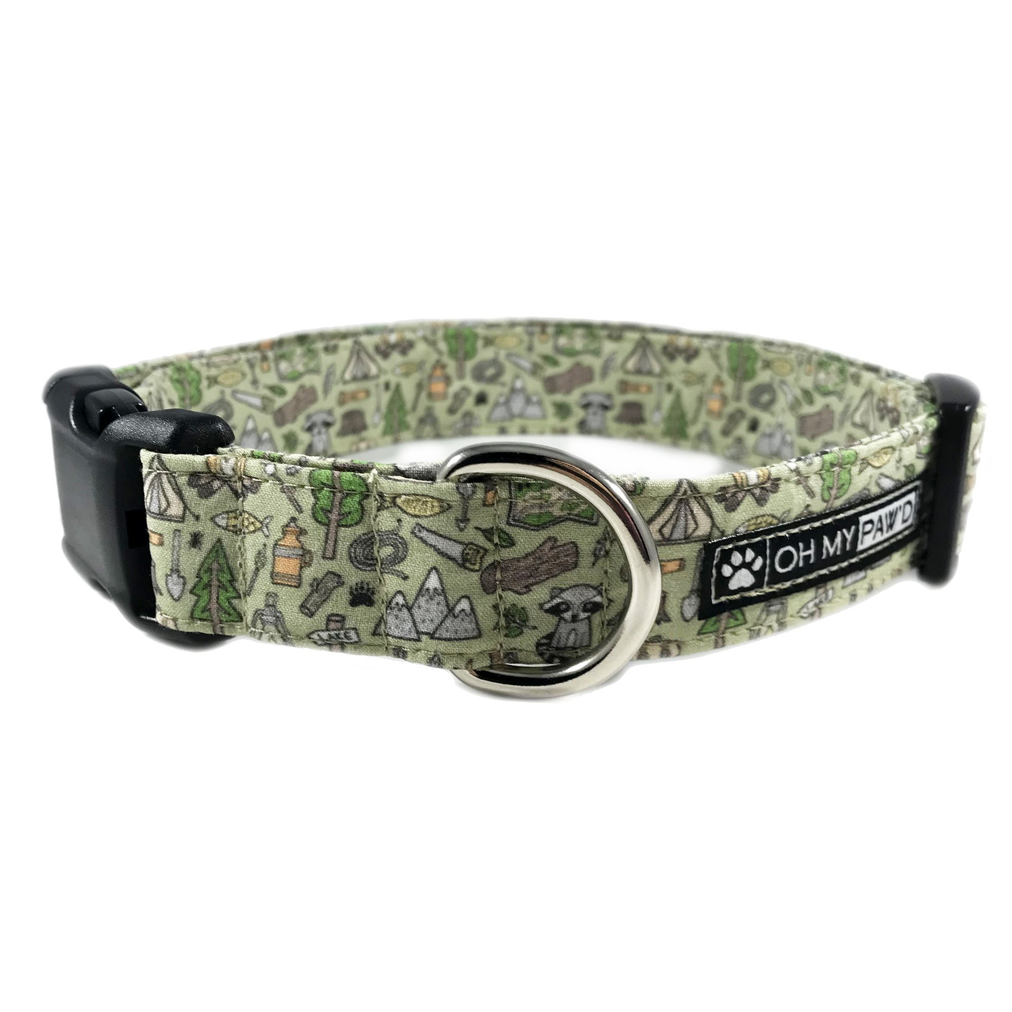Camping Dog or Cat Collar for Pets Size Large 1'' Wide and 15-23'' Long by Oh My Paw'd
