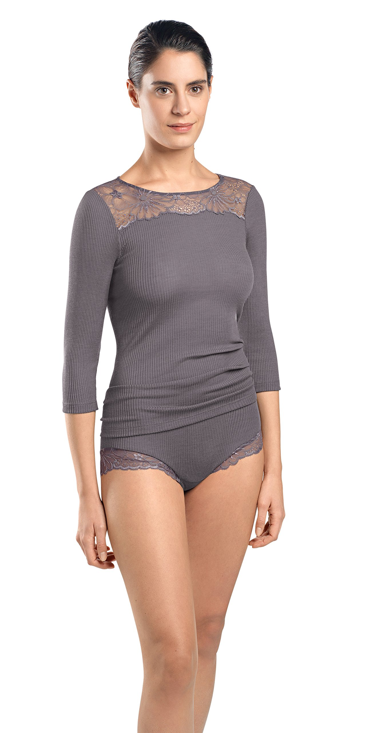 Hanro Women's Seraphina 3/4 Sleeve Shirt 72147, Warmgrey, Large
