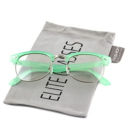 211ceb61015ad Elite Classic Horned Rim Semi Rimless Sunglasses Men Women Retro Brand  Clubmaster Glasses 50mm (Green