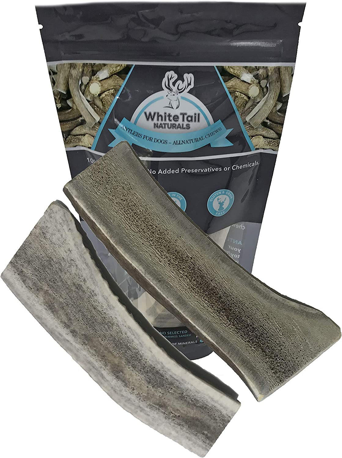 WhiteTail Naturals Premium Split Elk Antlers for Dogs 2 Pack Large All Natural Dog Chews Naturally Shed, Large Antler Horn Chew Toy
