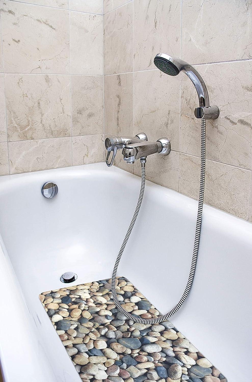 Bath Tub Shower Mat White Black Pebble Oval Anti Slip Non Slip Bathroom PVC Mat