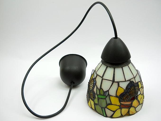 Lampadari E Plafoniere Tiffany : Lampadario design nero sospensione lampadari cavo con vetro