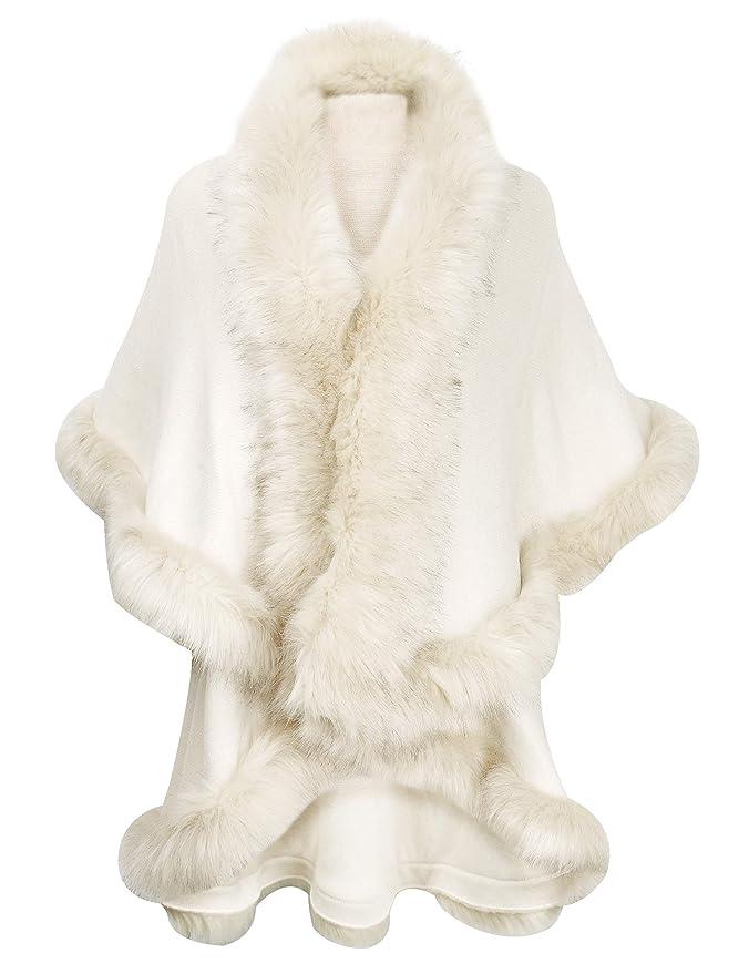 1920s Shawls, Wraps, Scarves, Fur Stoles ZLYC Women Fine Knit Open Front Faux Fur Trim Layers Poncho Cape Cardigan Sweater $49.99 AT vintagedancer.com