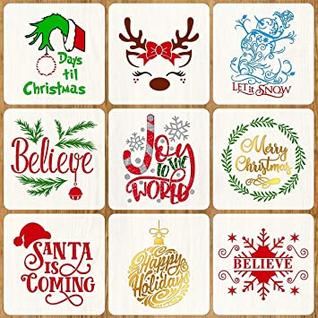 Christmas Stencils For Wood.9 Pcs Christmas Stencils For Painting On Wood 12 Inches Reusable Floor Tile Stencil For Christmas Decor Fabric Canvas Wall Painting Templates
