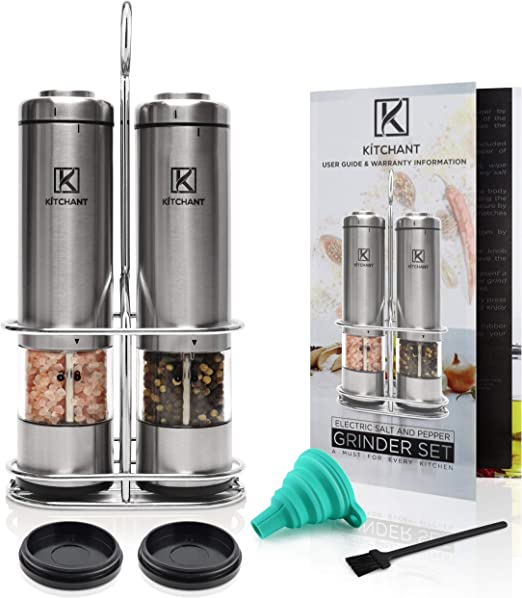 ELECTRIC PEPPER GRINDERTAINLESS STEEL SPICE CONTAINERS SET ADJUSTABLE SPICE MI