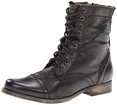 0110c07406f Steve Madden Men's Troopah Lace-Up Boot, Black Leather, 8 M US: Buy ...